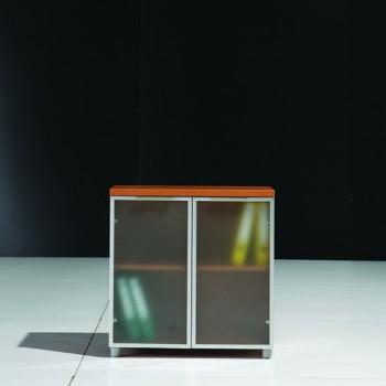 Meuble bas en bois 1 porte en verre l40cm mobilier for Meuble porte verre