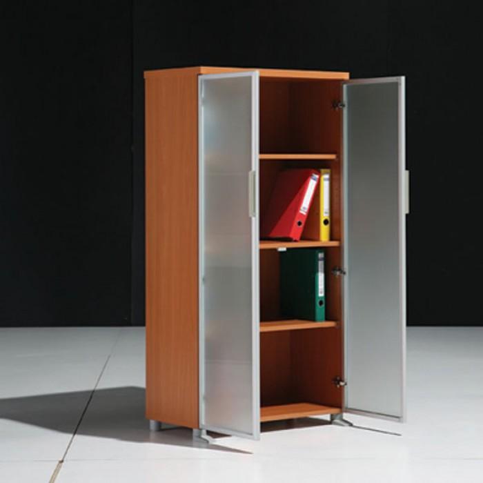 Meuble mi hauteur 2 portes en verre l80cm armoires bois - Meuble rangement verre ...